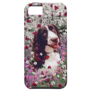 花の女性-ブリッタニースパニエル犬犬 iPhone SE/5/5s ケース