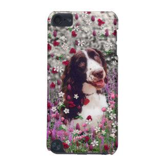 花の女性-ブリッタニースパニエル犬犬 iPod TOUCH 5G ケース