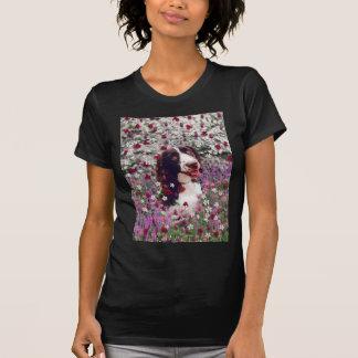 花の女性-ブリッタニースパニエル犬犬 Tシャツ