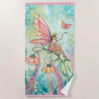 花の妖精のファンタジーの芸術のビーチタオル ビーチタオル