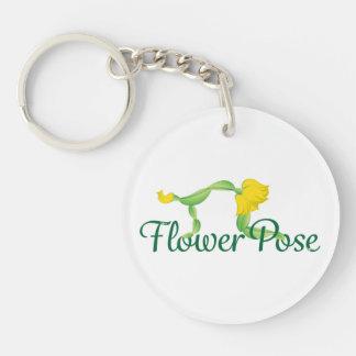 花の姿勢のロゴの円のキーホルダー キーホルダー