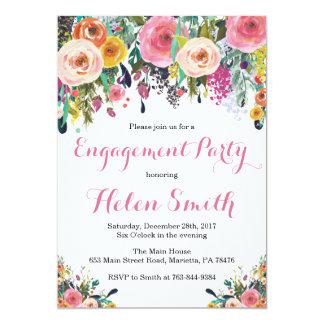 花の婚約パーティの招待状カード水彩画 カード