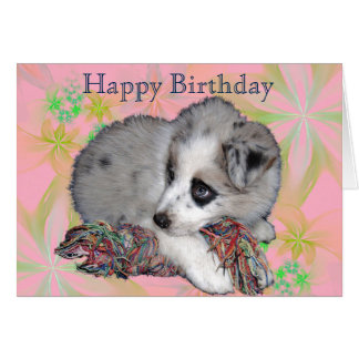 花の子犬、ピンク、誕生日おめでとう グリーティングカード