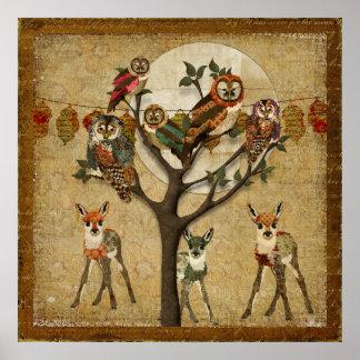 花の子鹿及びフクロウの森林祝祭ポスター ポスター