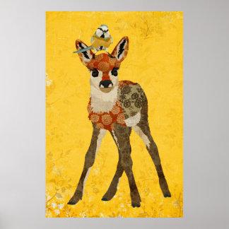 花の子鹿及び小さい鳥の芸術ポスター ポスター