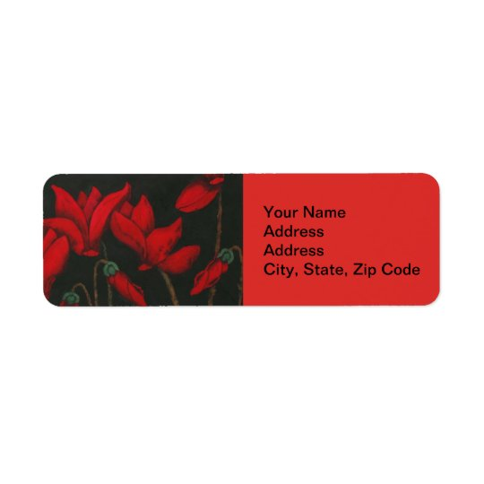 花の差出人住所ラベル、赤いシクラメン ラベル