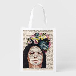花の帽子のステンシル芸術の買い物袋のミシェール エコバッグ