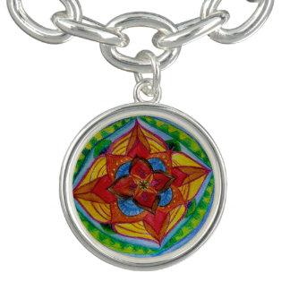花の幾何学の曼荼羅のブレスレットは、めっきされて銀を着せます チャームブレス