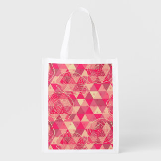 花の幾何学的なパターン エコバッグ