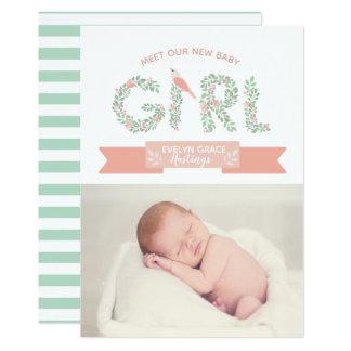花の庭の女の赤ちゃん|の誕生の発表 カード