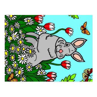 花の庭の春のバニー ポストカード