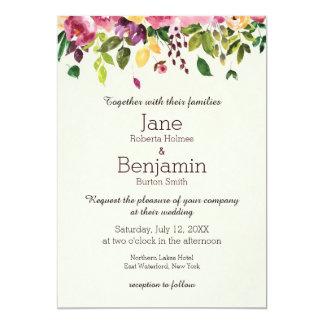 花の庭の水彩画の結婚式招待状 カード
