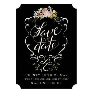 花の庭手のレタリングの保存日付カード 12.7 X 17.8 インビテーションカード