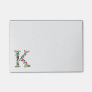 花の手紙のモノグラムのイニシャル- K - ポストイット