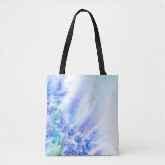 花の抽象的な水彩画の青いすみれ色分野 トートバッグ