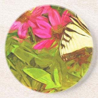 花の抽象芸術の黄色いアゲハチョウの蝶 コースター