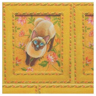 花の敷物の生地のチョコレートポイントシャム猫 ファブリック