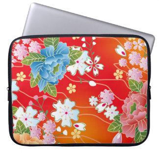 花の日本のなヴィンテージの着物パターン ラップトップスリーブ
