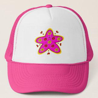 花の星のピンク キャップ