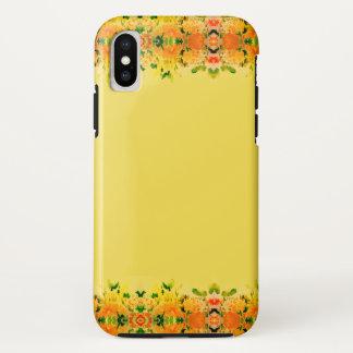 花の春のイエロー・ゴールドのファッションのiPhoneの箱 iPhone X ケース