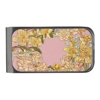 花の春のピンク ガンメタル マネークリップ