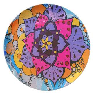 花の曼荼羅のプレート プレート