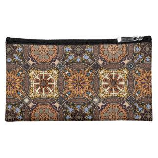 花の曼荼羅の要素が付いているヴィンテージのパッチワーク コスメティックバッグ