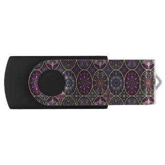 花の曼荼羅の要素が付いているヴィンテージのパッチワーク USBフラッシュドライブ