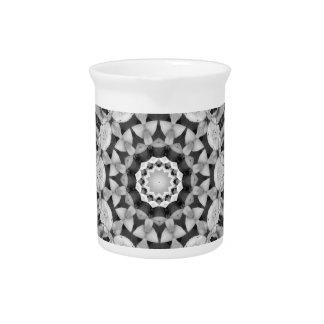 花の曼荼羅スタイル、チューリップは、白および灰色黒くします ピッチャー
