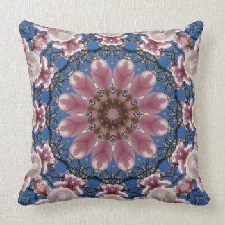 花の曼荼羅、ピンクの春の花 クッション