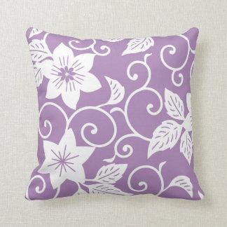 花の枕-アフリカバイオレットの紫色パターン クッション