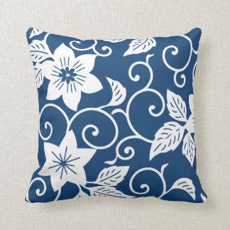 花の枕-モナコの青パターン クッション