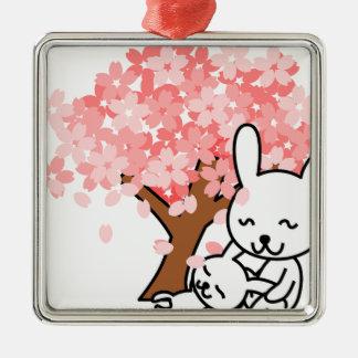 花の桜のバニーの運命公園愛平和 メタルオーナメント