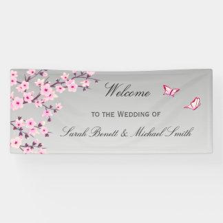 花の桜のピンクの灰色の結婚式 横断幕