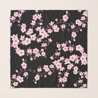 花の桜のピンクの黒 スカーフ