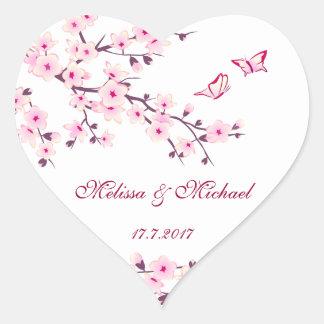 花の桜の結婚 ハートシール