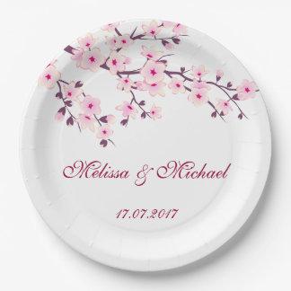花の桜の結婚 ペーパープレート