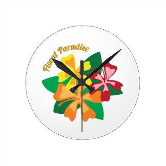 花の楽園 ラウンド壁時計