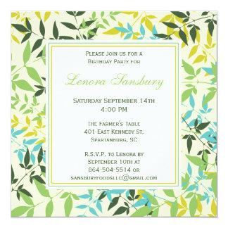 花の正方形の誕生日のパーティの招待状 カード