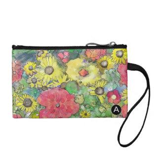 花の水彩画のカラフルな爆発の硬貨の財布 コインパース