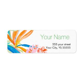 花の水彩画のデザイン熱帯極楽鳥 返信用宛名ラベル