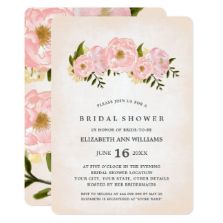 花の水彩画のブライダルシャワー招待状 カード