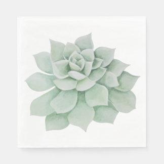 花の水彩画のミントの緑のSucculentのサボテン スタンダードランチョンナプキン