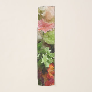花の水彩画のモモのピンクおよび緑 スカーフ