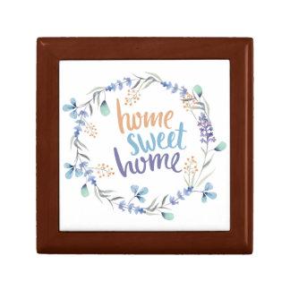 花の水彩画のリースの家の菓子の家 ギフトボックス