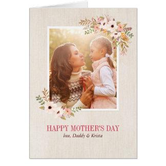 花の水彩画の母の日カード カード