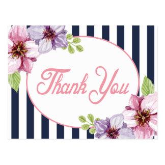 花の水彩画の濃紺のストライプありがとう ポストカード