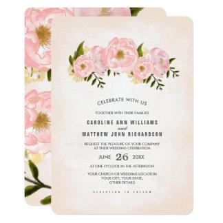 花の水彩画の絵画の結婚式招待状 カード