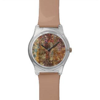 花の水彩画の腕時計 腕時計