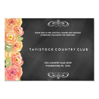 花の水彩画の黒板の披露宴カード 8.9 X 12.7 インビテーションカード